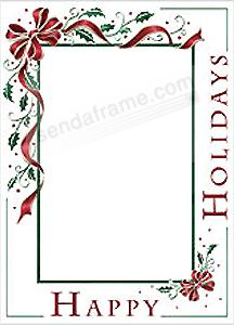 holiday bowphoto insert christmas card sold in 10s picture frames photo albums personalized and engraved digital photo gifts sendaframe