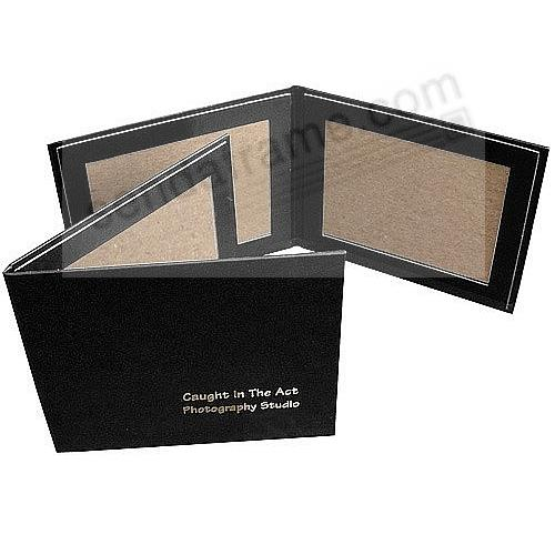 Black Leather-like Double Photo Folder 6x4 frame w/plain border (sold in 10s)