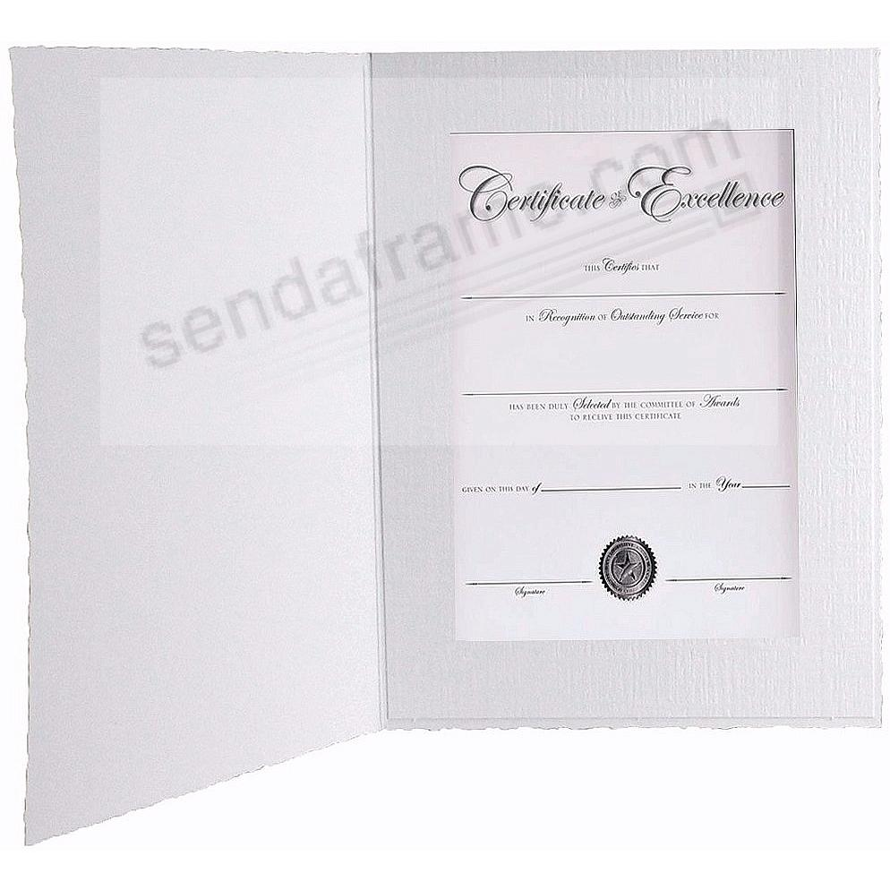 White Cardboard Certificate Photomount Folder frame w/plain border (sold in 25s)