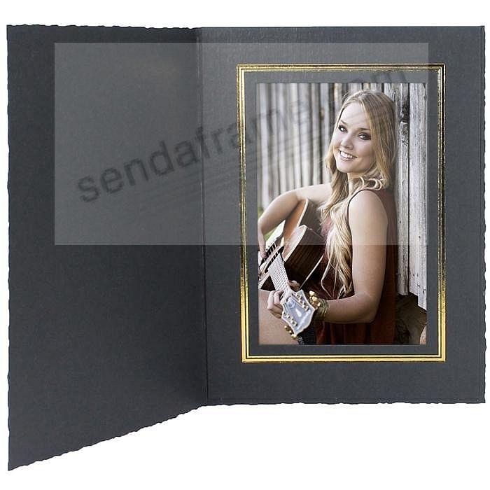 Black Cardstock Paper Portrait Folder frame w/gold foil border (sold in 25s)