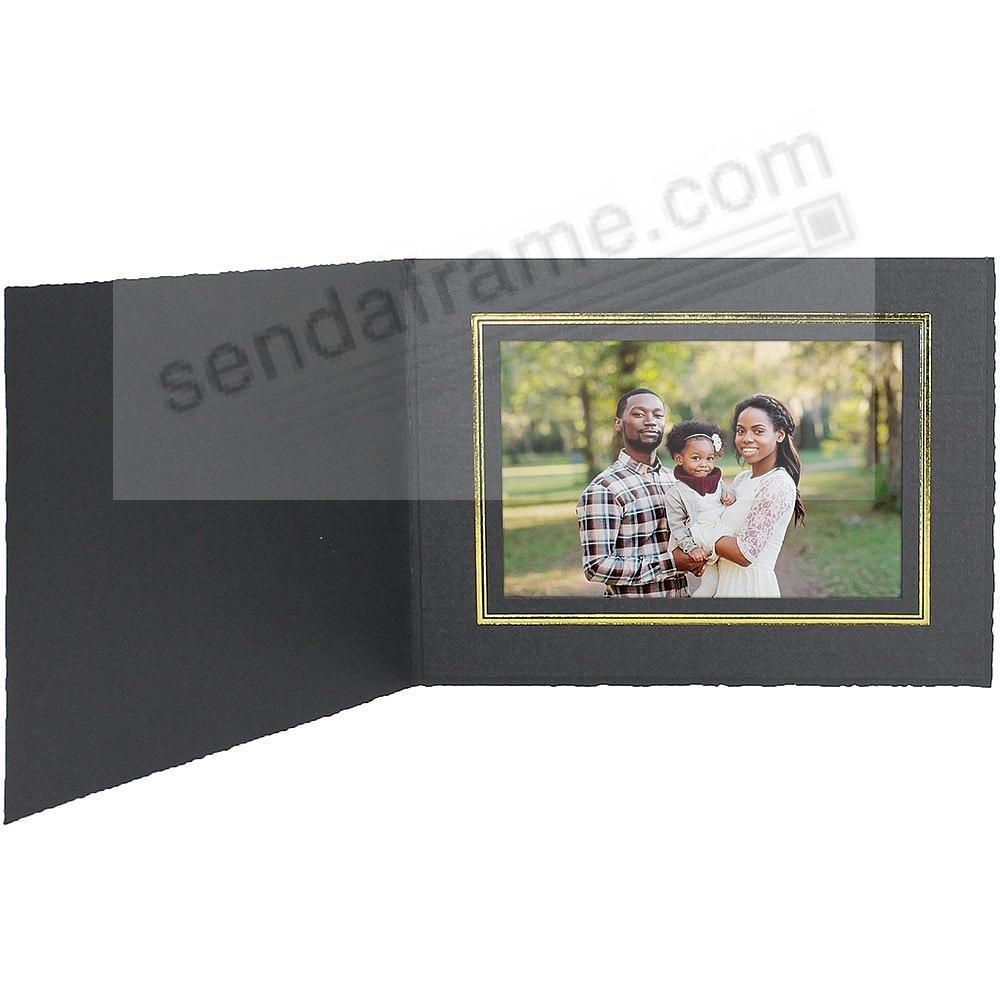 Black Cardstock Paper Portrait Folder frame w/gold foil border (sold in 25s) - Landscape