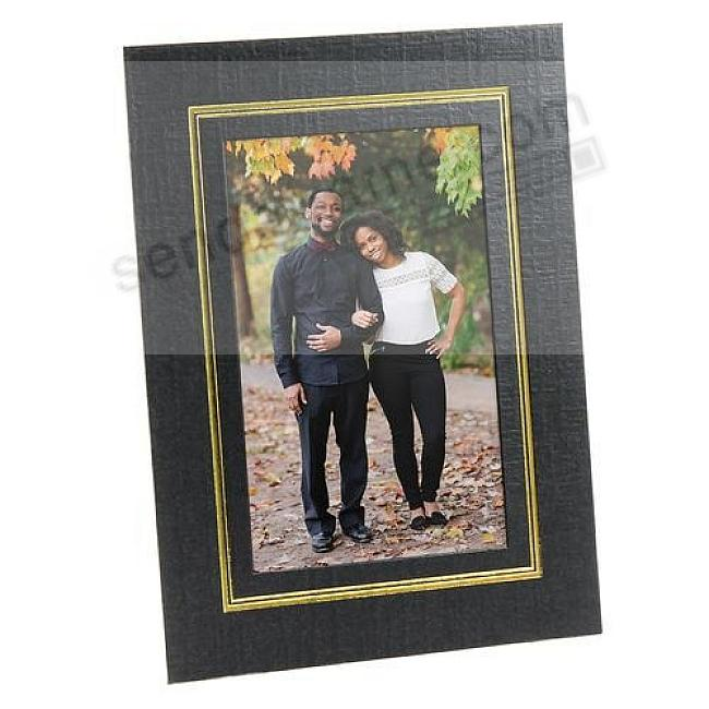 DUAL EASEL cardstock photo frame w/foil border (sold in 25's)