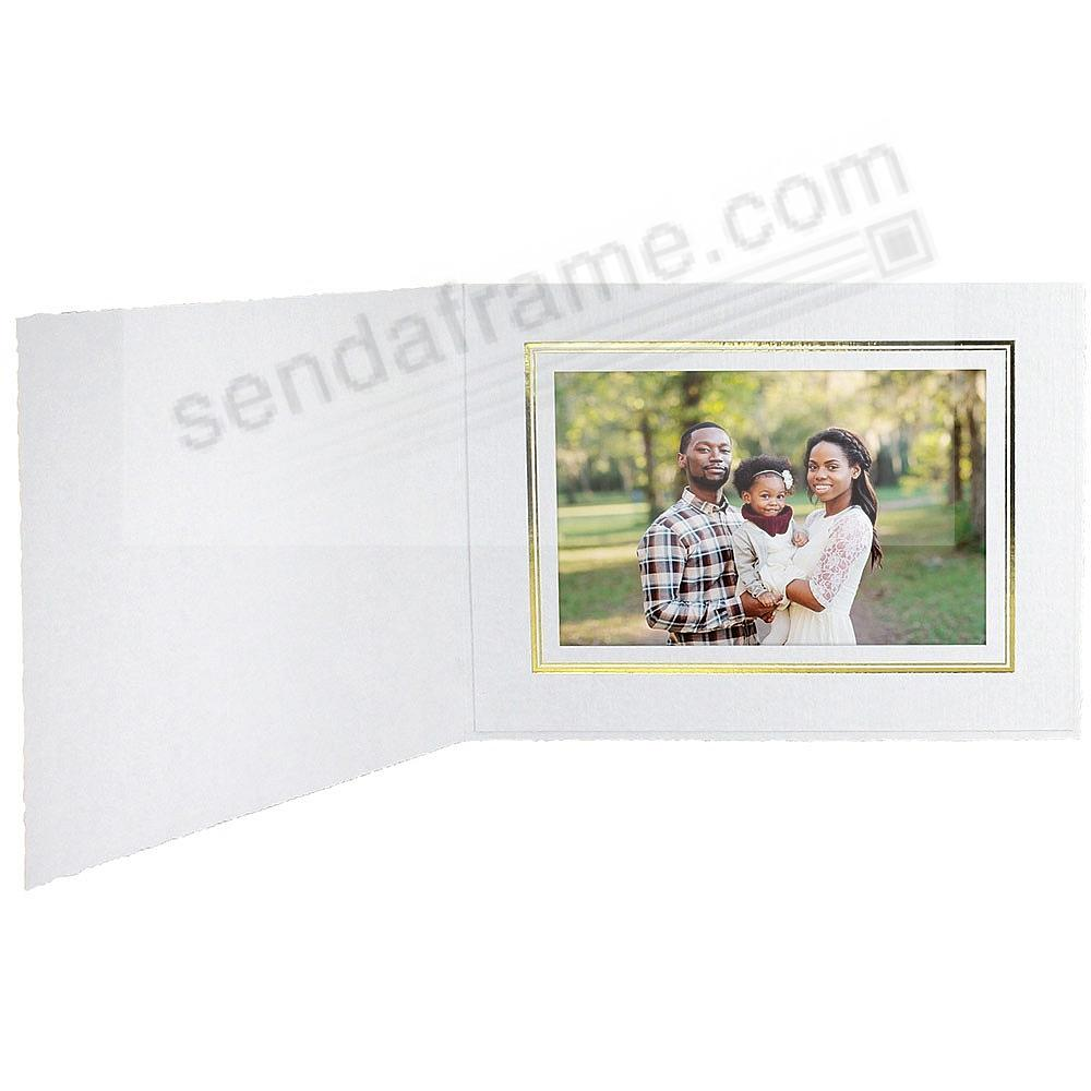 White Cardboard Paper Photo-mount Folder 6x4 frame w/gold foil border (sold in 25s)