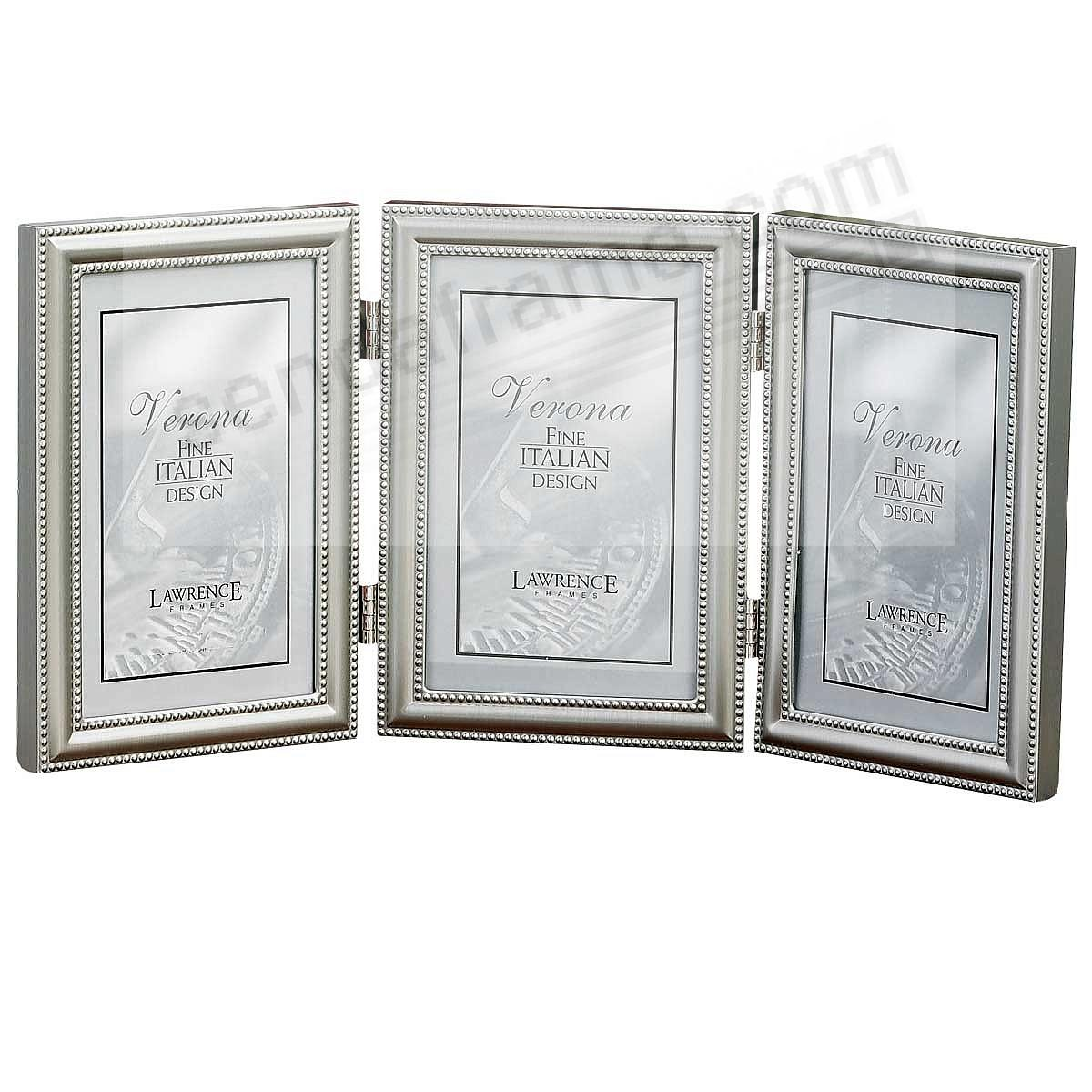Satin pewter TRIPLE w/double bead trim by Lawrence Frames®