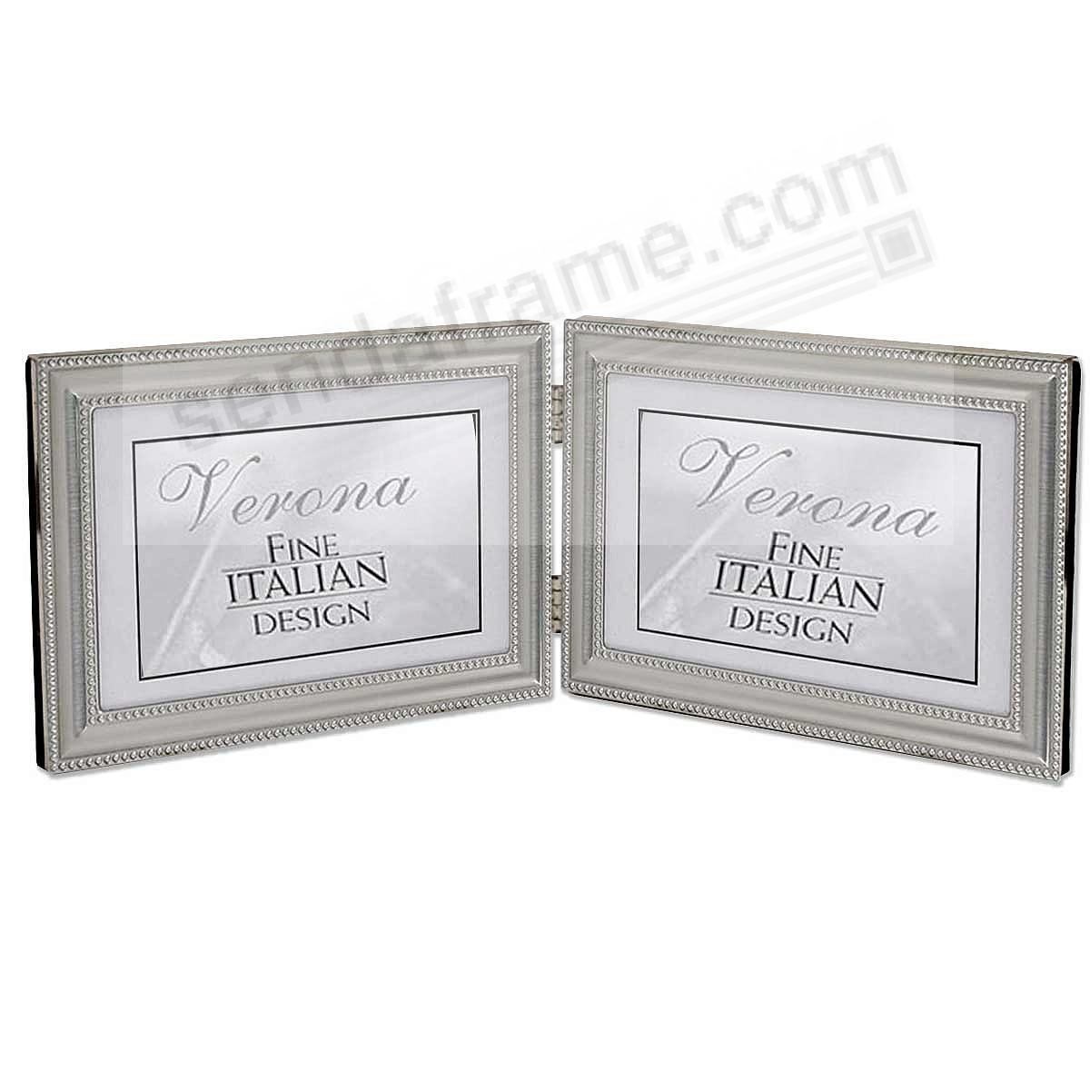 Pewter Double Hinged landscape 6x4 frame w/double bead trim
