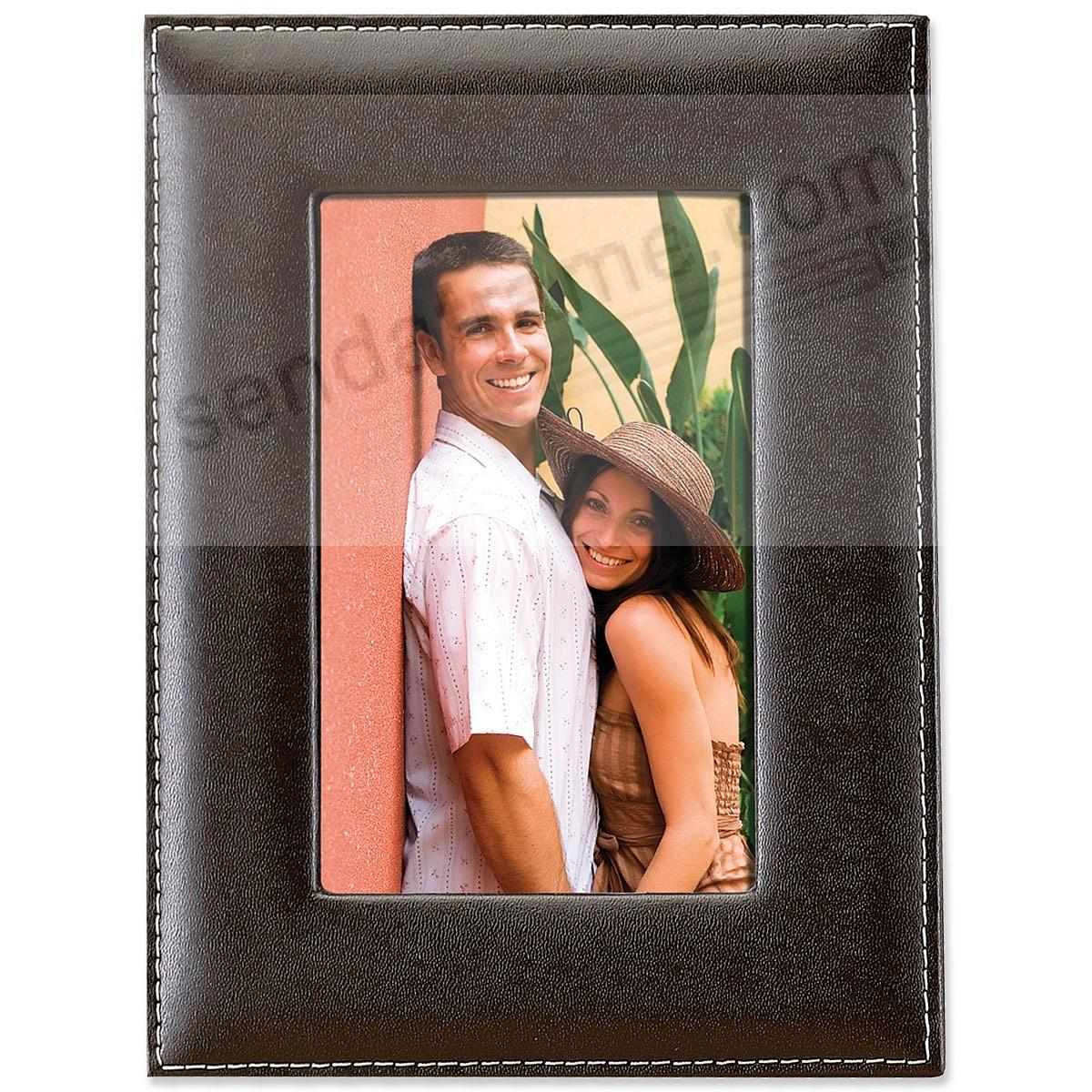 Picture frames photo albums personalized and engraved digital saddle stitched bonded leather in chocolate brown jeuxipadfo Image collections