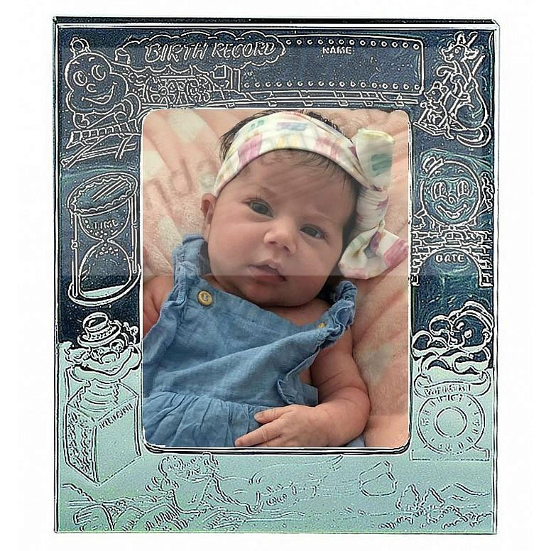 Silverplate Baby Birth-Record Frame - Picture Frames, Photo Albums ...
