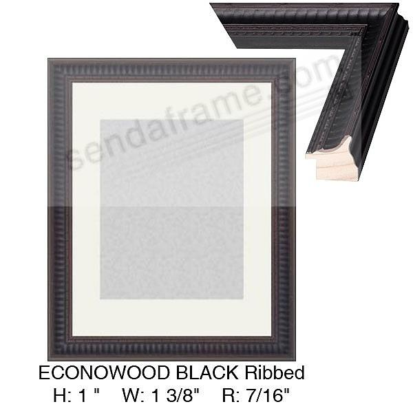 ECONOWOOD Ebony-Black Ribbed Frame Custom-Cut™ H:1in  W:1-3/8in  R:7/16in