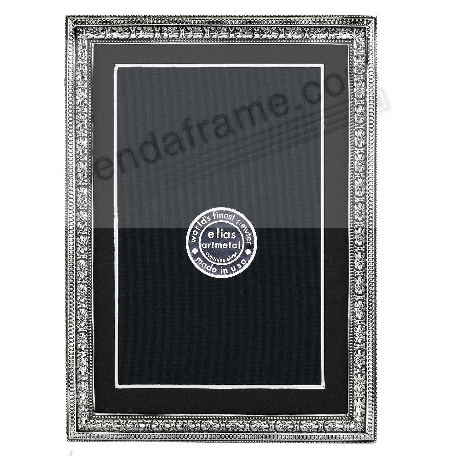 BEADED FLORAL Fine Pewter 5x7/4x6 frame<br>by Elias Artmetal®