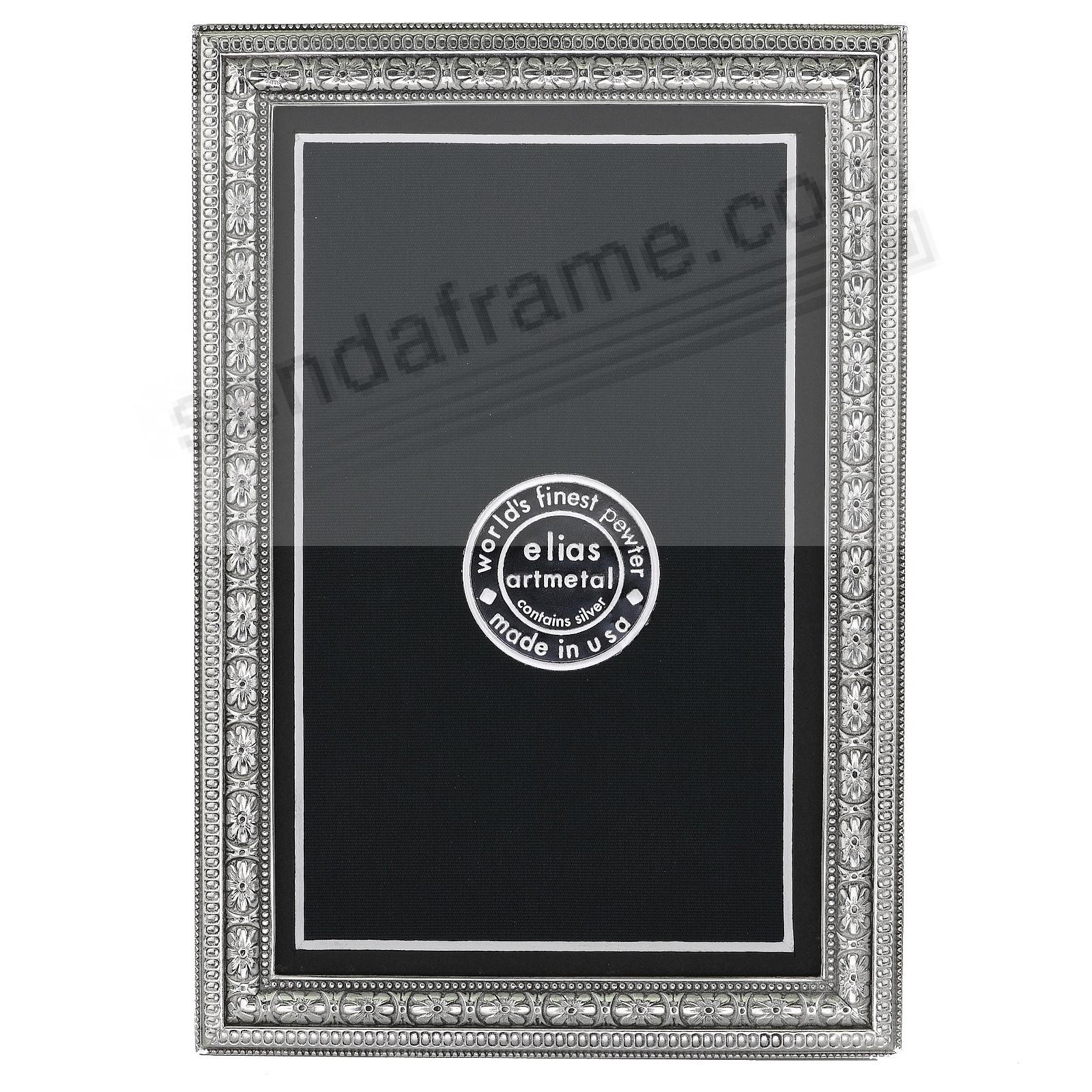 BEADED FLORAL Fine Pewter 4x6/3&frac12;x5&frac12; frame<br>by Elias Artmetal&reg;