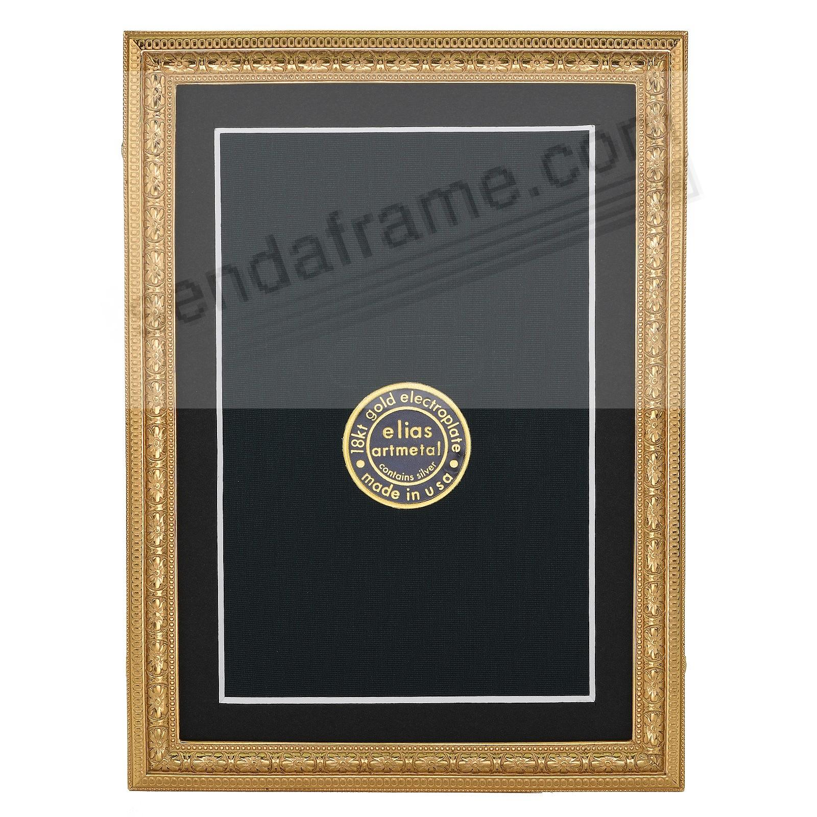 BEADED FLORAL 18kt Museum Gold Vermeil over fine Pewter 4x6/3&frac12;x5&frac12; frame<br>by Elias Artmetal&reg;