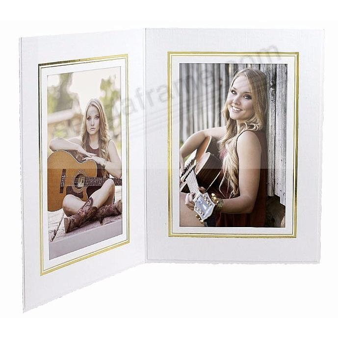 White Cardstock portrait<br>double folder frame w/gold foil border