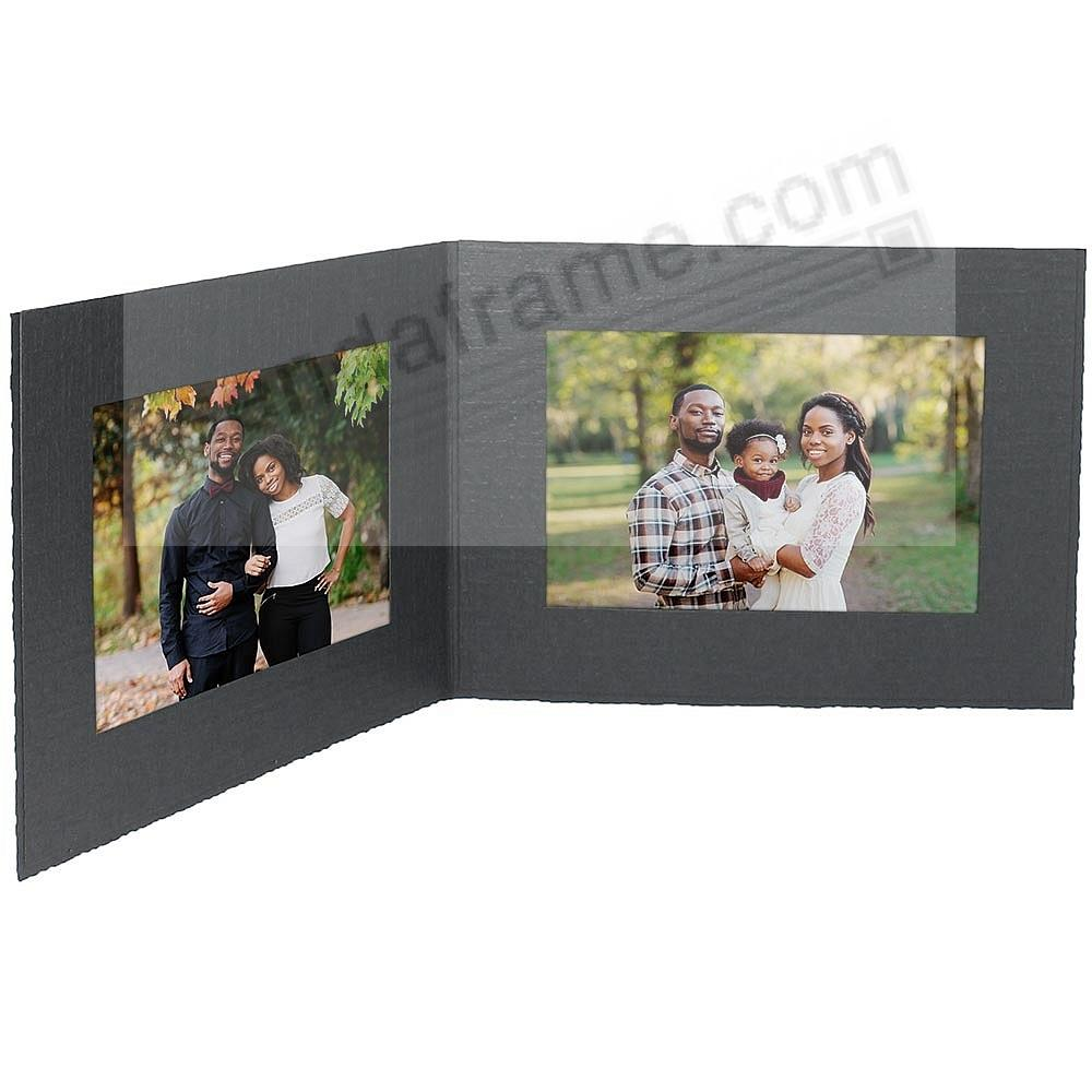 Black cardboard double photo<br>folder frame w/plain border (sold in 25s)