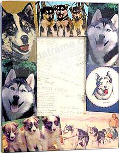 Collectible ALASKAN HUSKY vintage Decoupage picture frame by Blankety Blank™