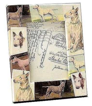Vintage BULL TERRIER dog decoupage frame by Blankety Blank™