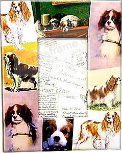 Vintage CAVALIER KING CHARLES dog decoupage frame by Blankety Blank™