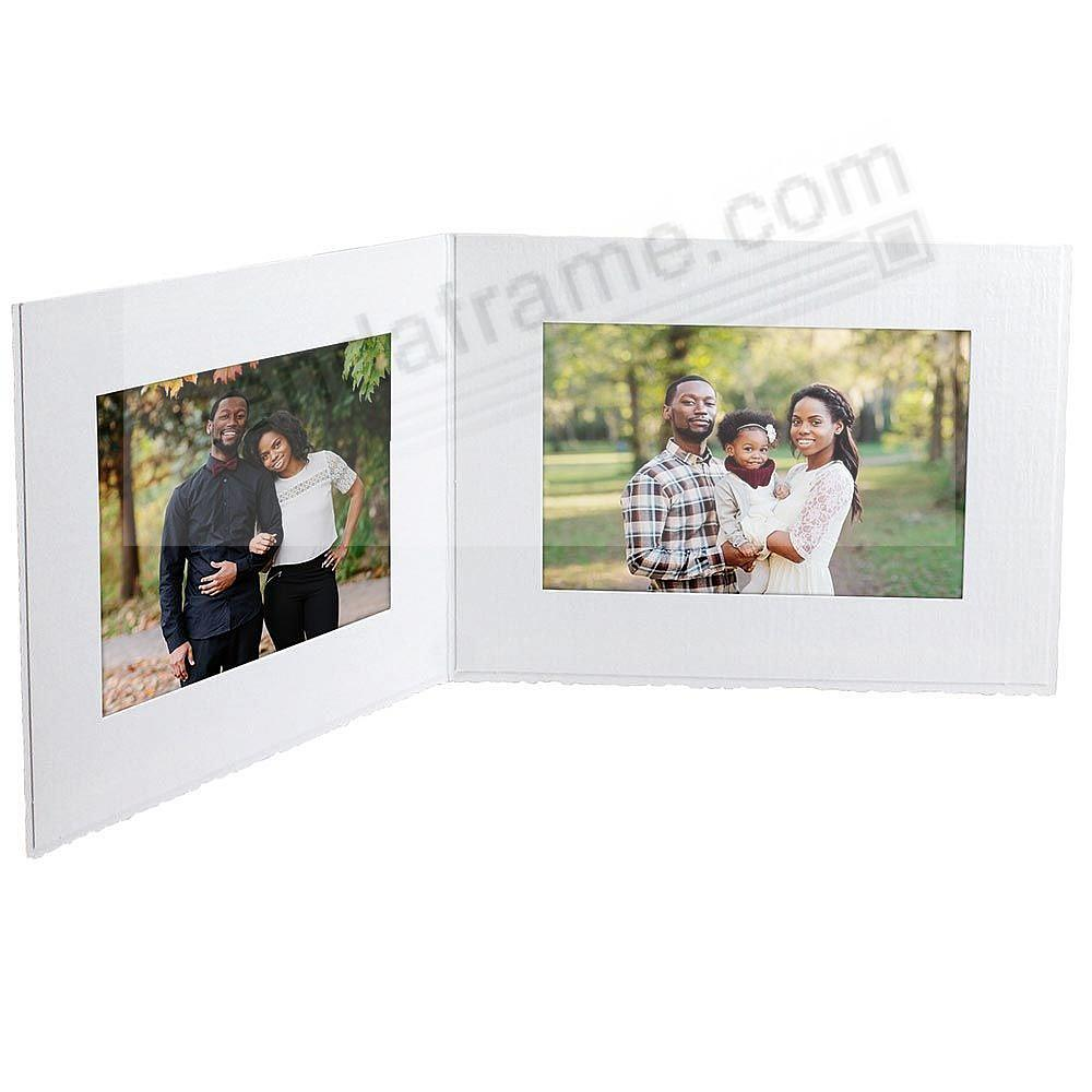 White cardboard double photo<br>folder frame w/plain border (sold in 25s)