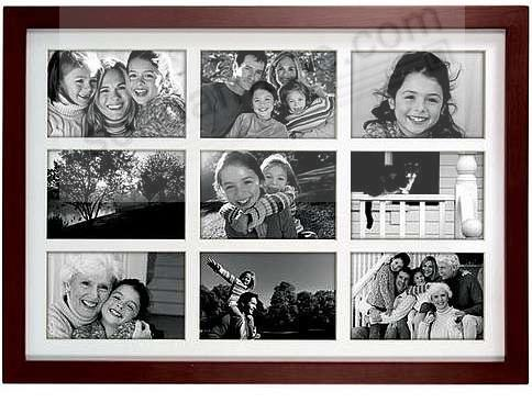 Walnut LINEAR collage displays (9) 4x6 prints - Picture Frames ...