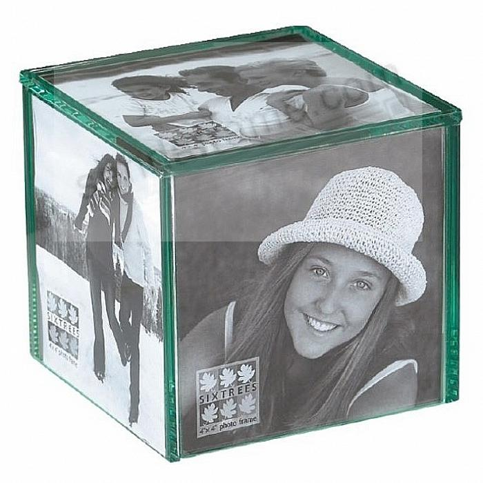 Glass Desk Top Photo 4x4 Cube Frame For 5 Photos By