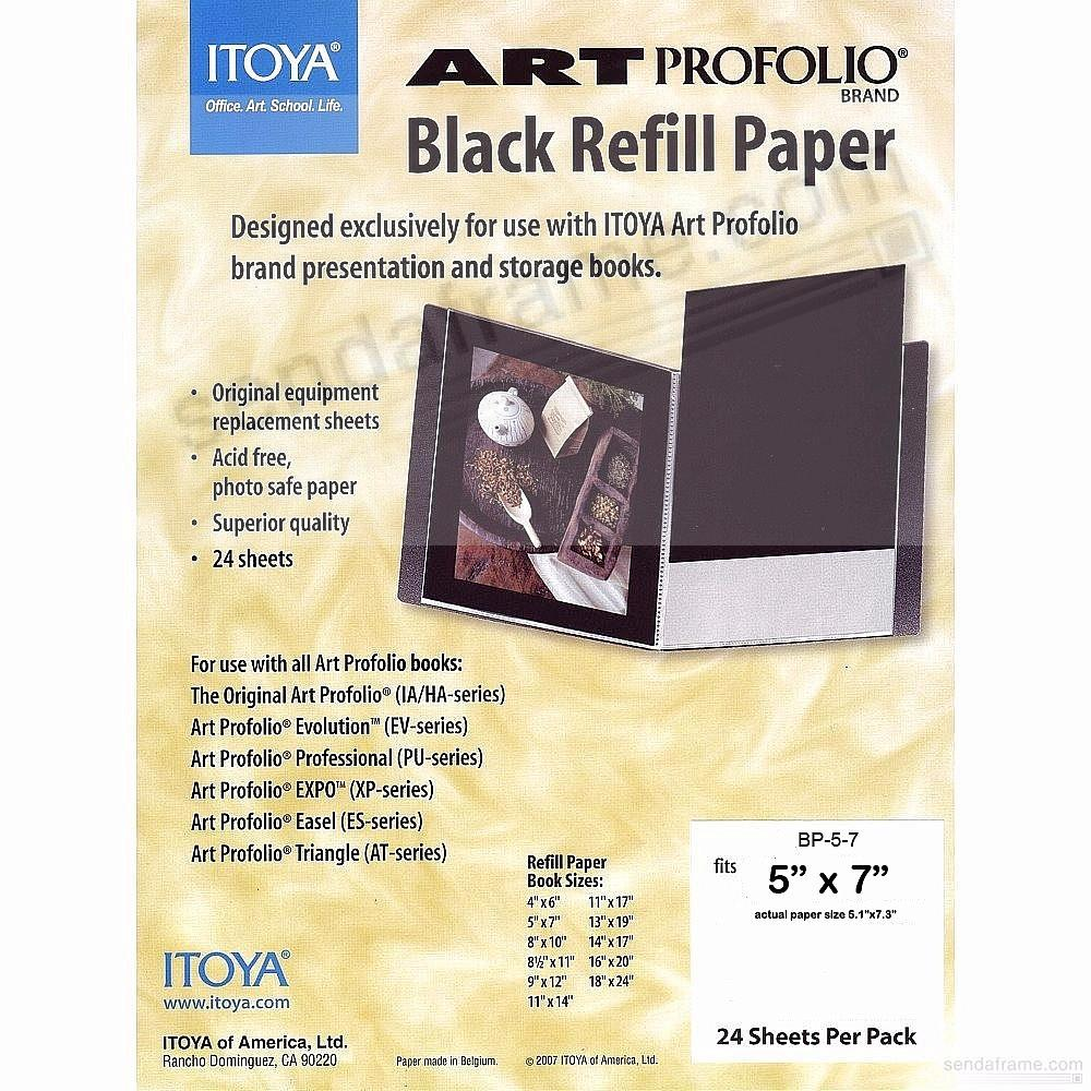 Genuine ITOYA® Black Refill Paper for 5x7 albums
