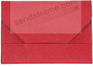 Photo envelope in RODEO pebble grain red leather by Raika®