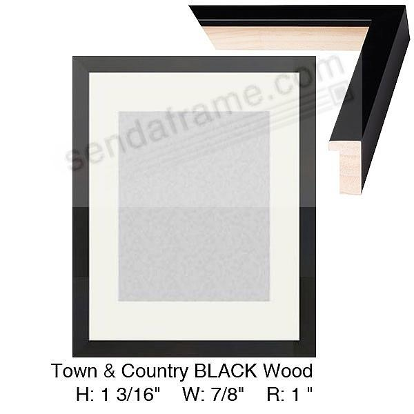 Custom-Cut™ Black TOWN + COUNTRY poster H:1-3/16 W:7/8 R:1