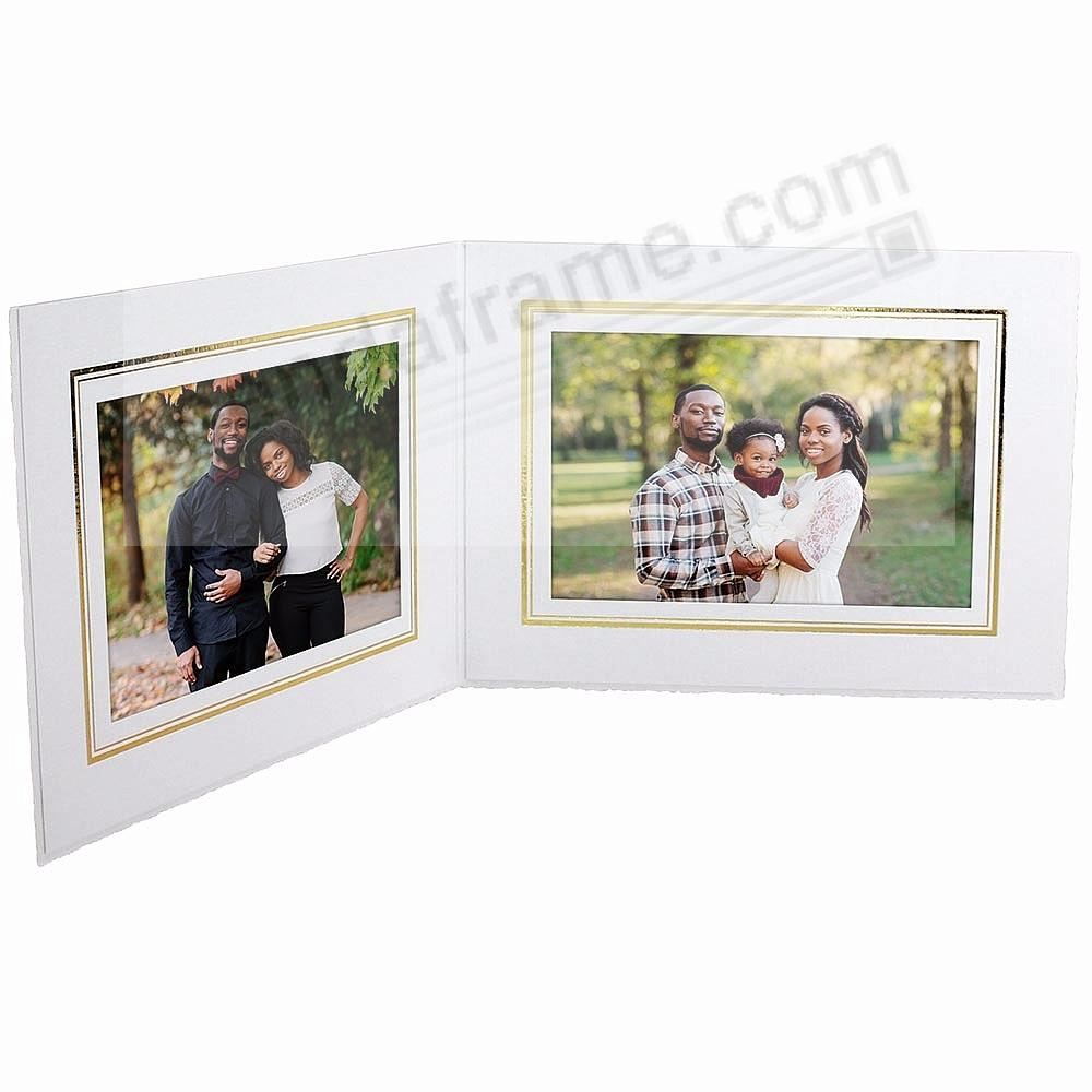 White w/gold foil border Cardstock Paper portrait<br>Double photo ...