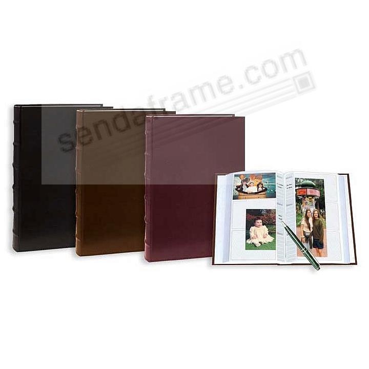 Leather BI-DIRECTIONAL 300 capacity slide-in pocket albums with Memo (SAVE when you buy 3+ Ass't)