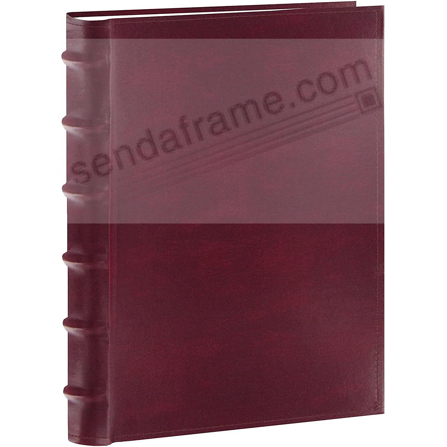 Burgundy Leather BI-DIRECTIONAL 300 capacity slide-in pocket albums with Memo