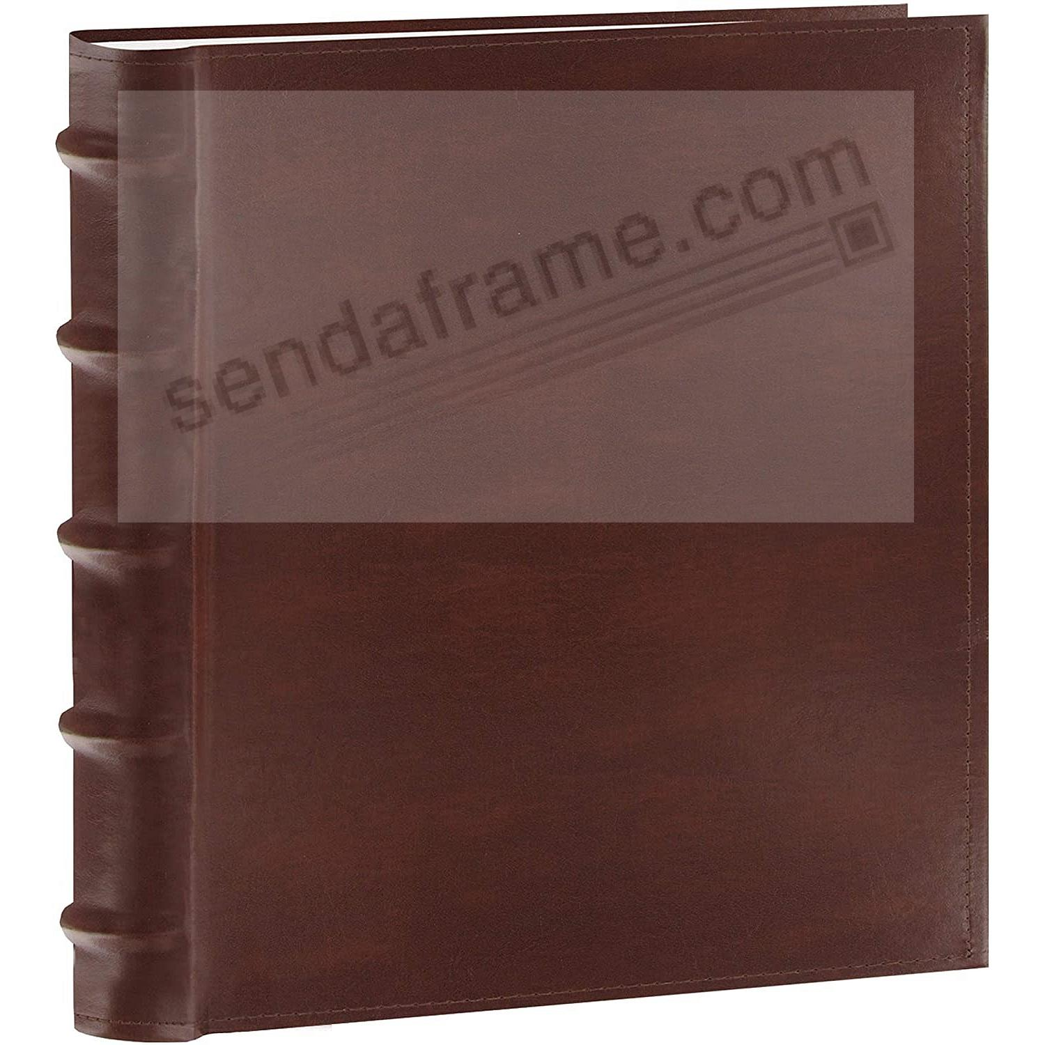 Choco-Brown Leather BI-DIRECTIONAL 200 capacity slide-in pocket album with memo