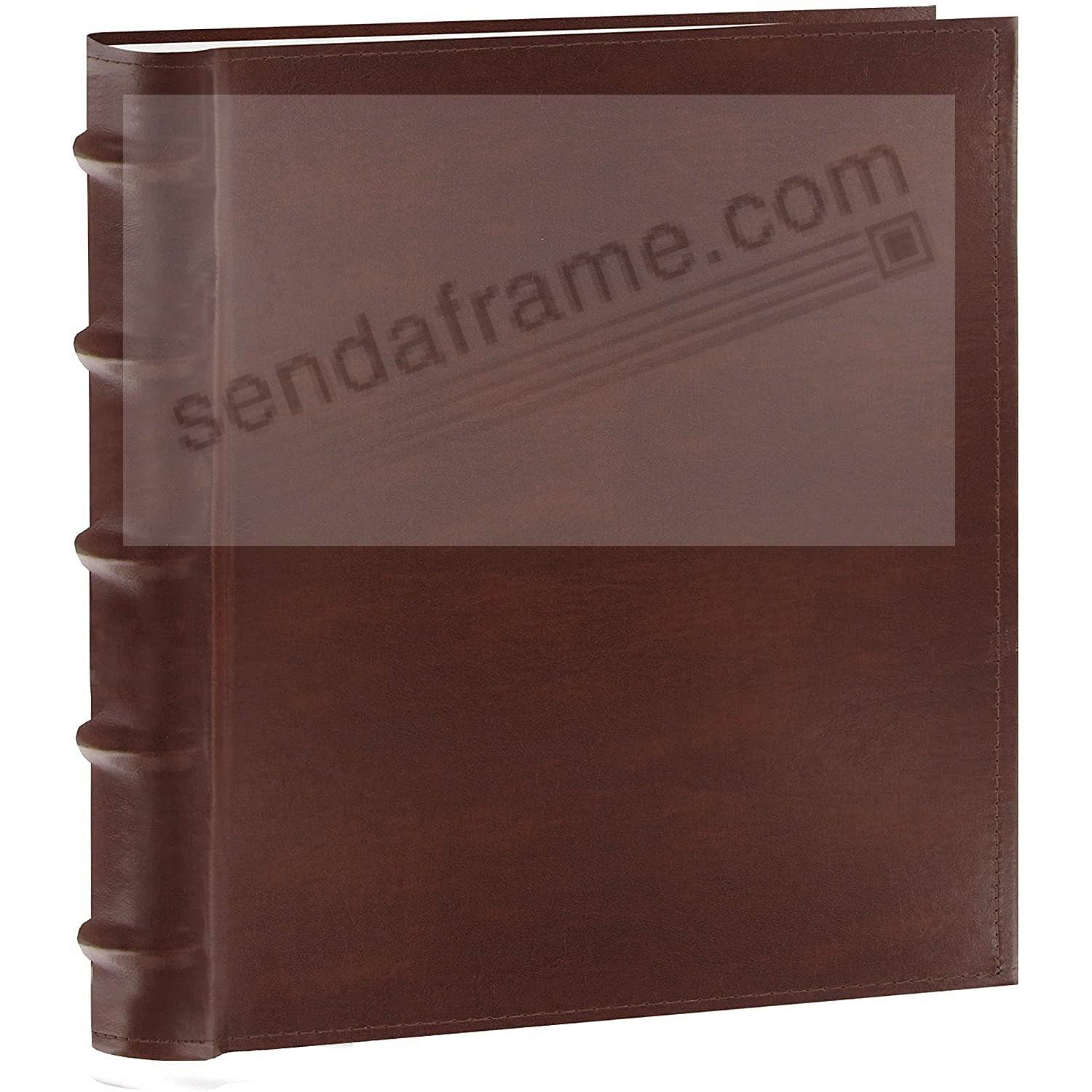 Bonded-Leather BROWN BI-DIRECTIONAL 200 capacity slide-in pocket albums with Memo