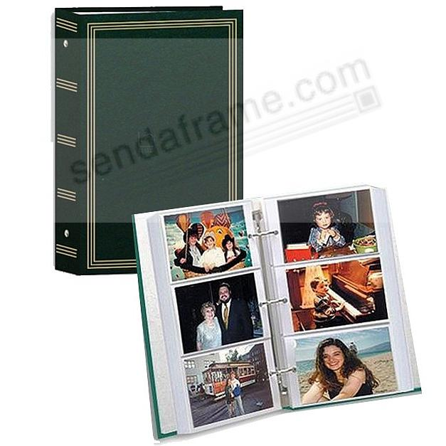 3-Ring slip-in pocket HUNTER-GREEN binder album for 300+ photos by Pioneer®