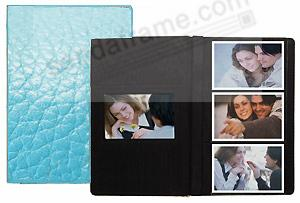 Pastel turquoise-blue 3-up fine leather #127 grain album by Raika®