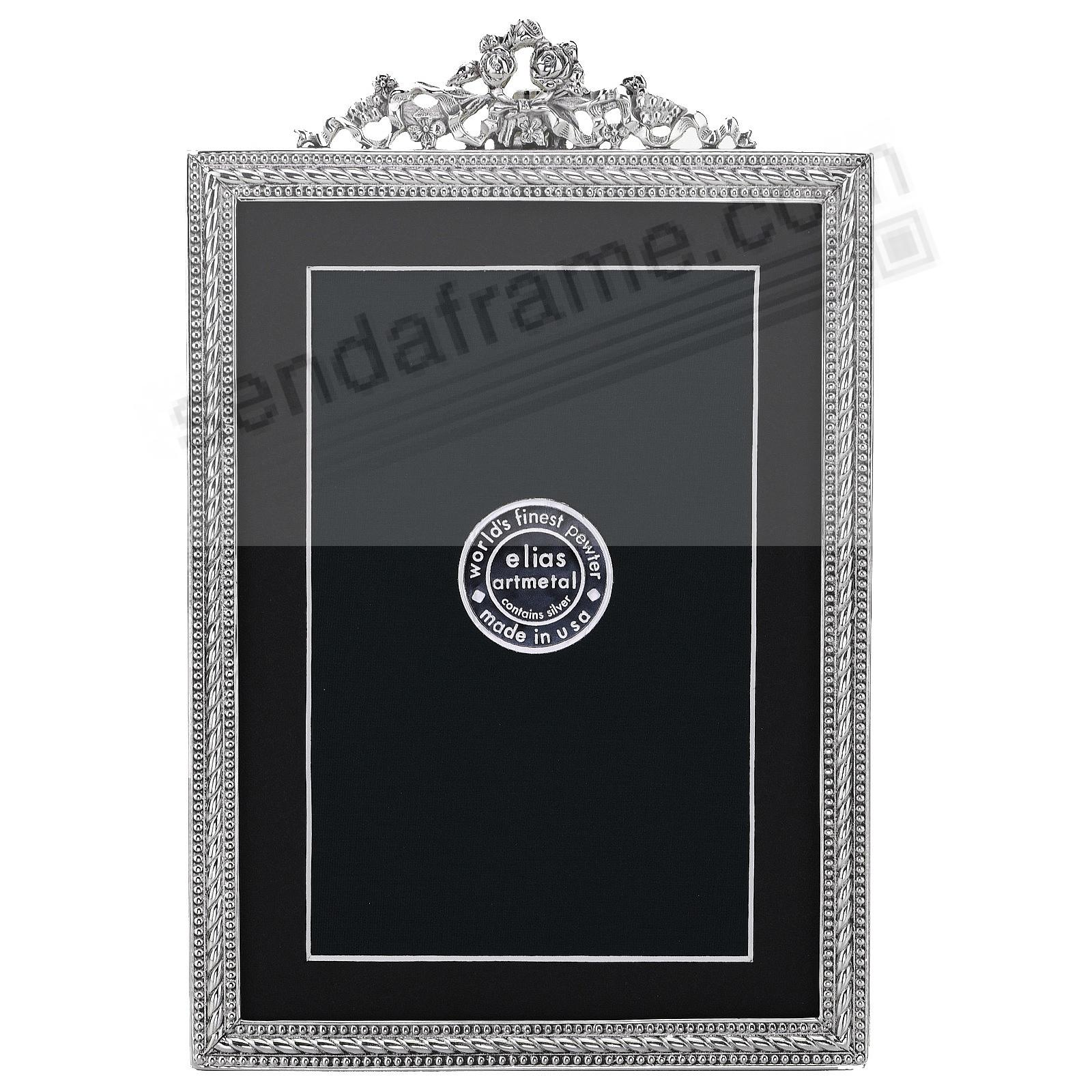FRENCH REVIVAL BEADING silvered Fine Pewter 5x7/4x6 frame<br>by Elias Artmetal&reg;