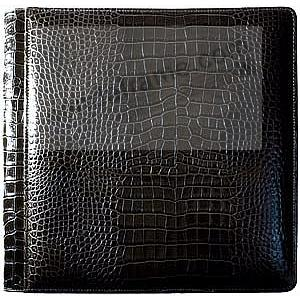 NILE BLACK crocodile print leather #105 album with 5-at-a-time pages by Raika®