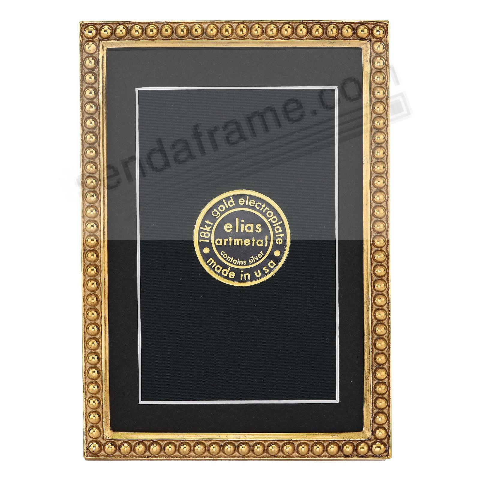 JUST BEADS 18kt Museum Gold over Fine Pewter 3½x5 frame by Elias Artmetal®