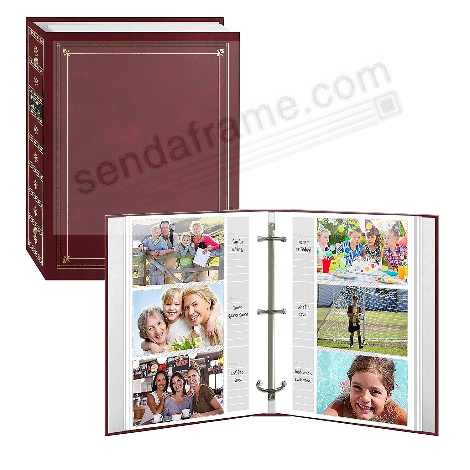 BI-DIRECTIONAL 3-ring Burgundy album with memo area by Pioneer®