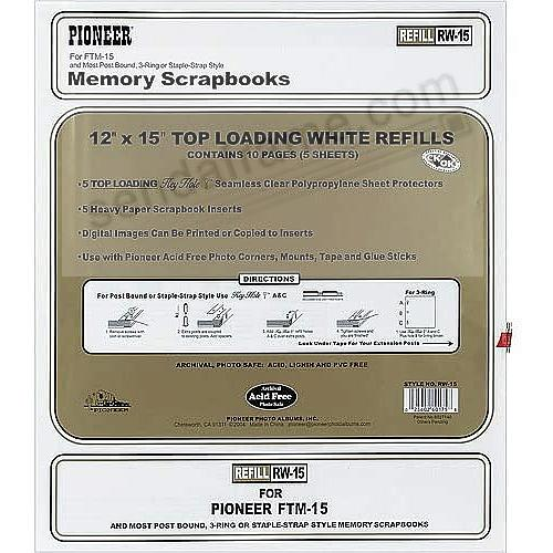 Genuine Pioneer® WHITE Sheet refill pages with sheet protectors for your scrapbooks