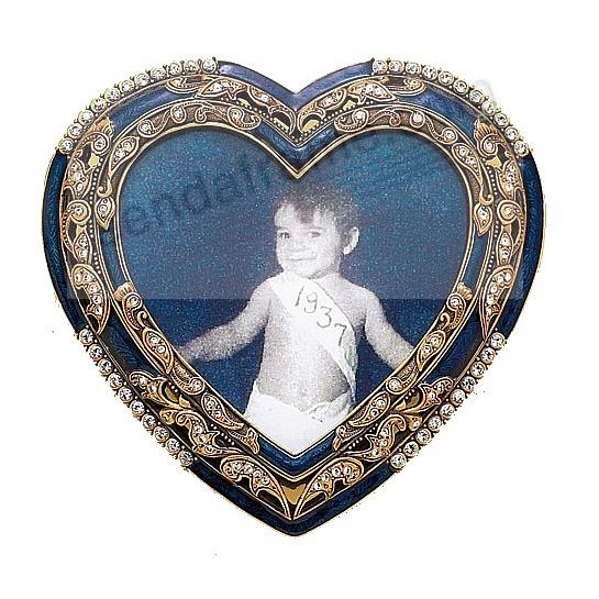 WHIMSEY Indian sapphire & crystal pavé<br>heart in museum gold by Berebi&reg;