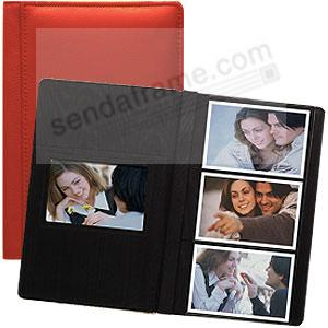 Red RODEO pebble grain leather #127 album with 3-at-a-time pages by Raika®