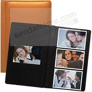 Orange RODEO pebble grain leather #127 album with 3-at-a-time pages by Raika®