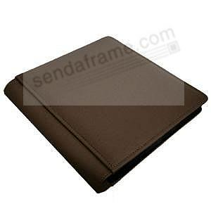 Mocha brown pebble-grain #106 scrapbook album<br>features soft leather by Raika&reg;
