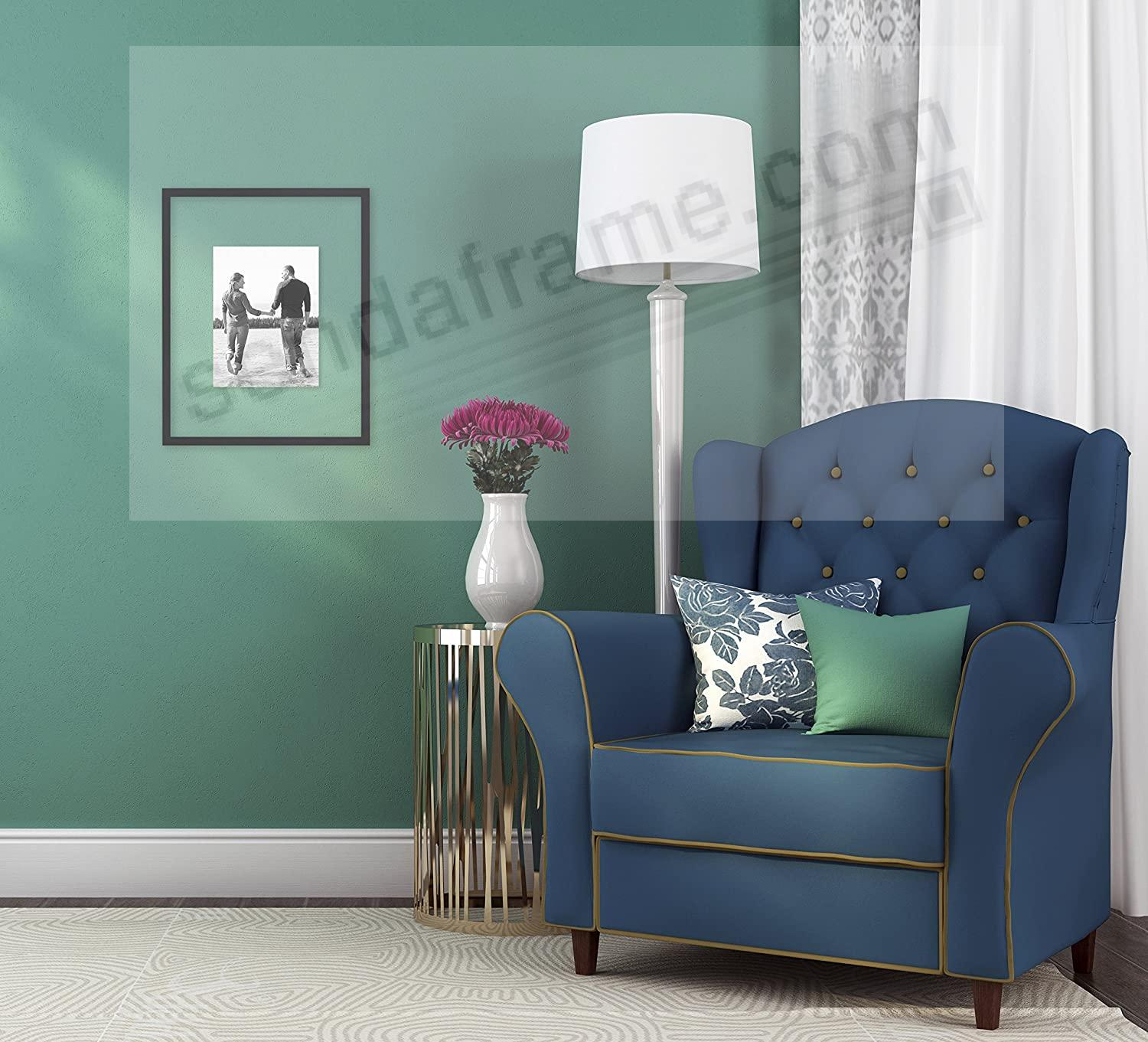 the original float and double sided 16x20 black stain wood wall frame