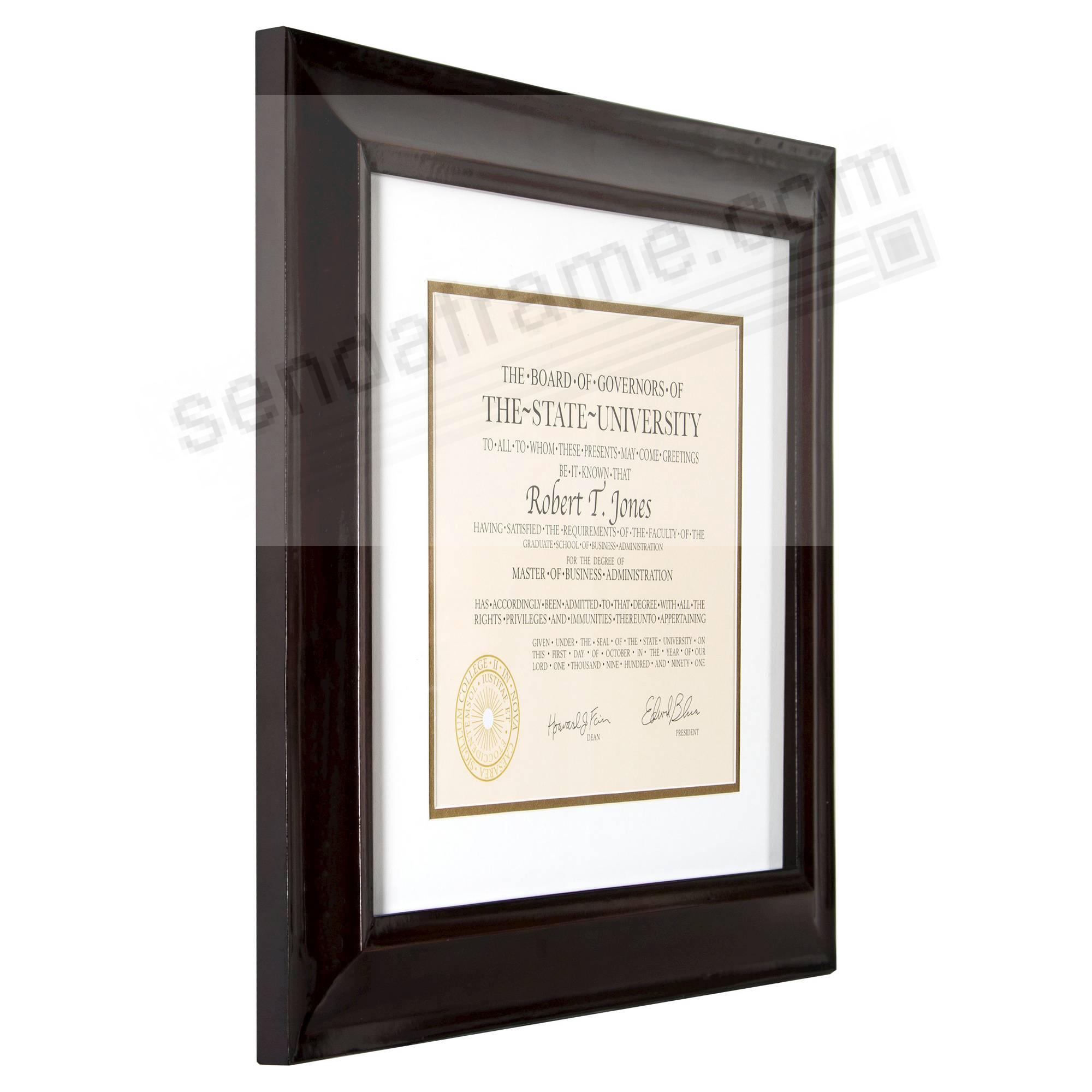Hampton Luxe Walnut Matted 15x12 11x8½ Certificate Frame By