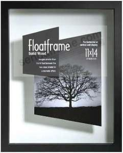 the original float and double sided 11x148x10 black stain wall frame - Double Sided Frames
