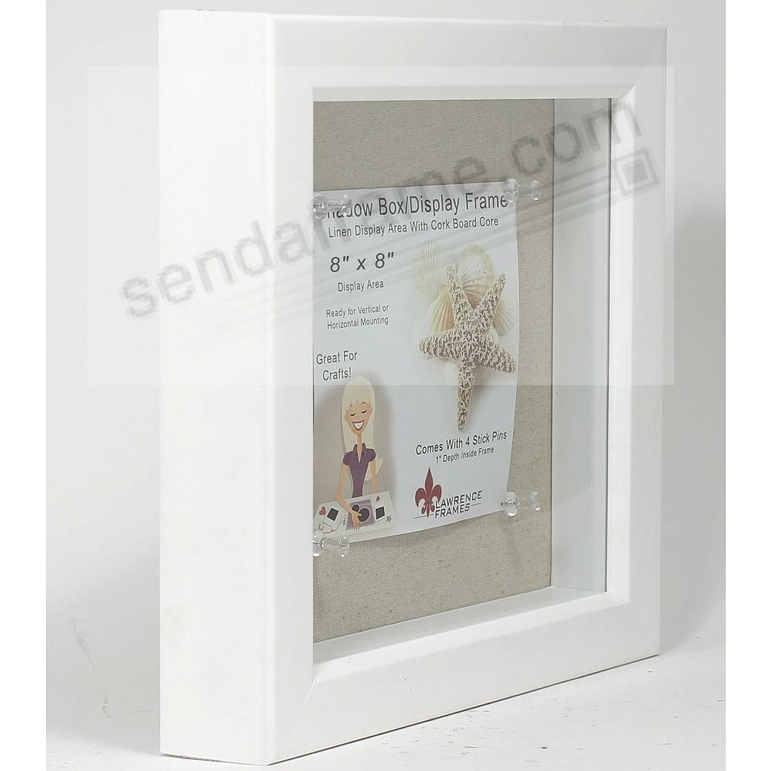 white stained 1in deep craft linen lined 8x8 shadowbox by lawrence