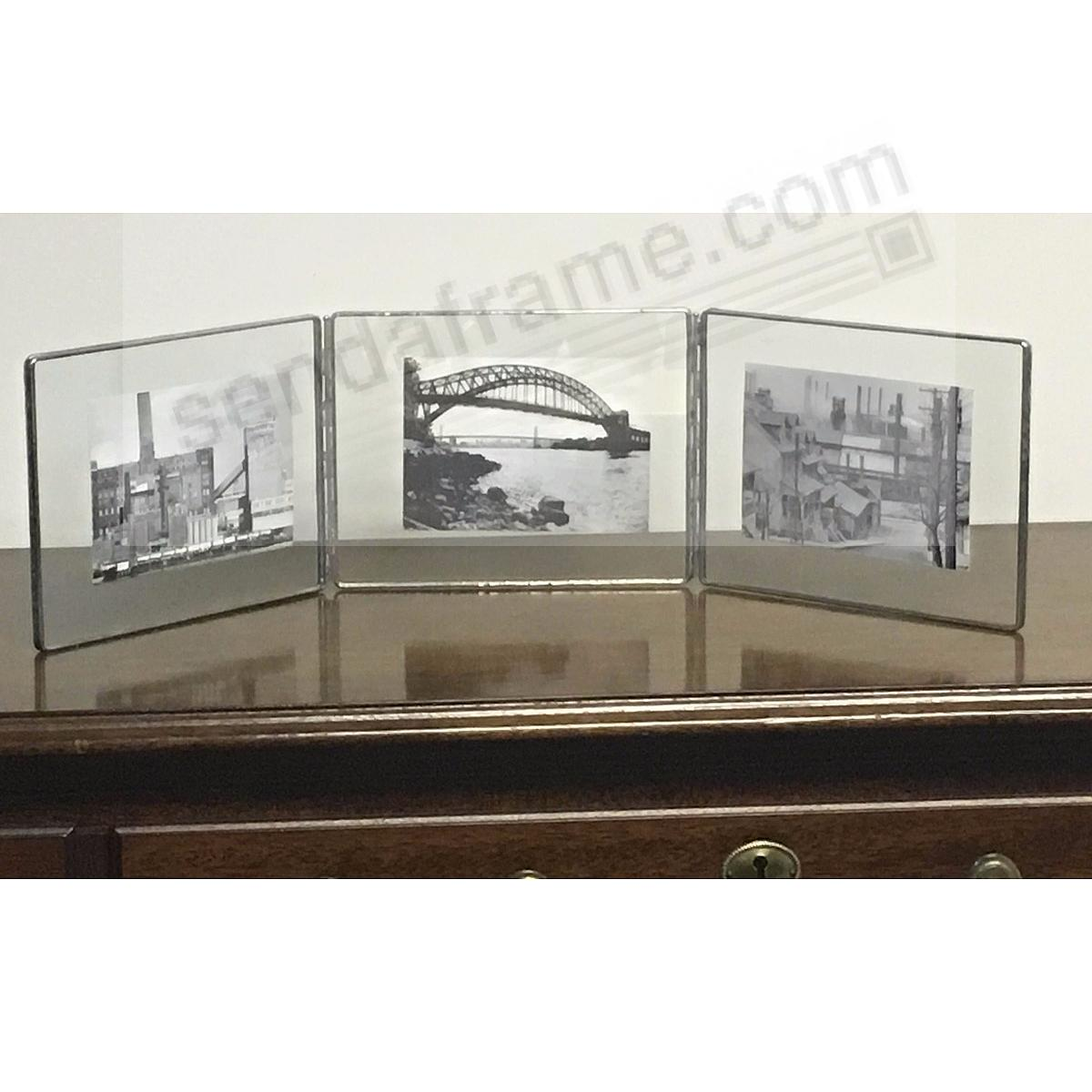 SILVER + Clear Glass Float Frame 7x5½/6x4 Horiz Hinged Triple by ...