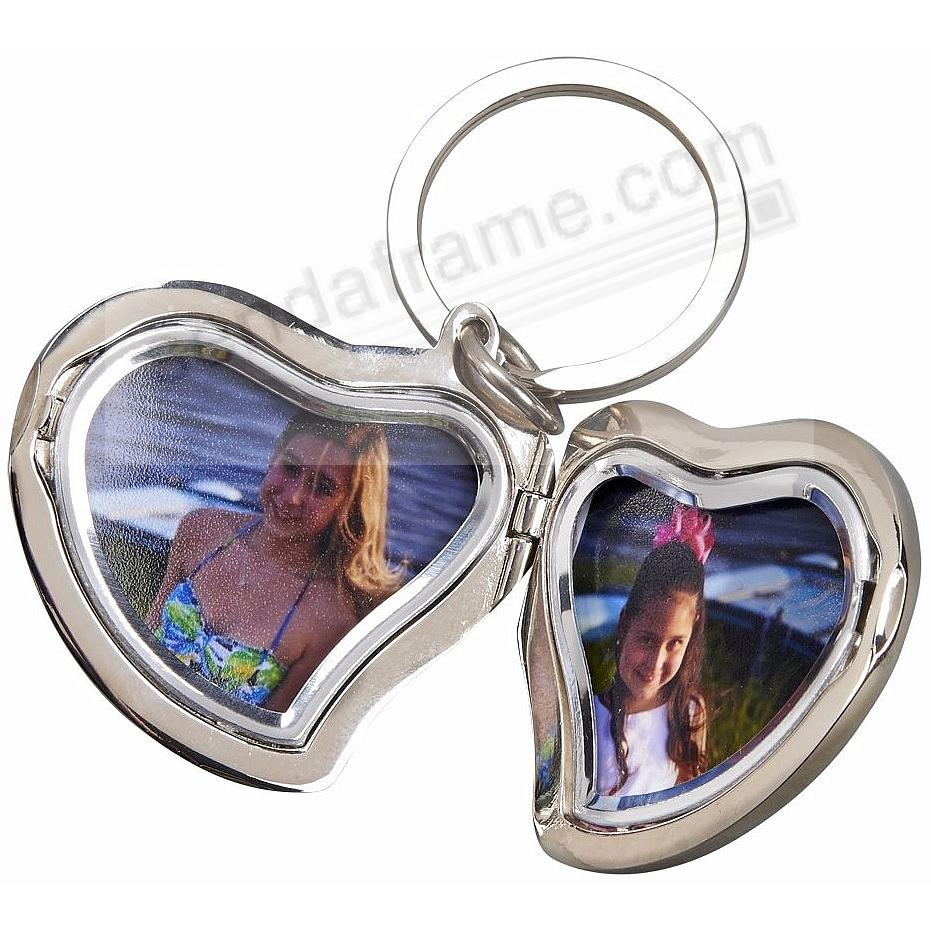 Our silverplate heart shaped locket keyring picture frames our silverplate heart shaped locket keyring jeuxipadfo Choice Image