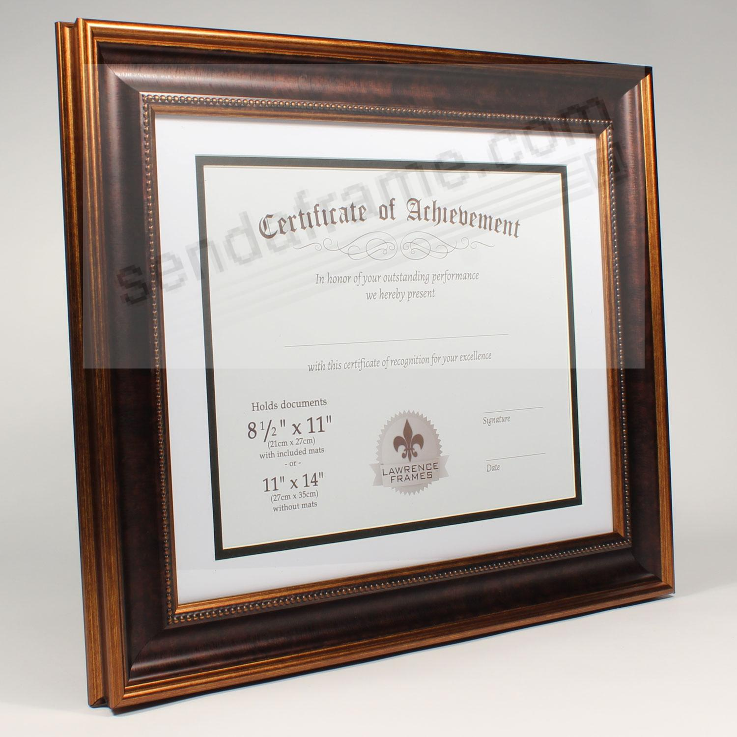 dual use bronze beaded document frame 14x1111x8 by lawrence frames