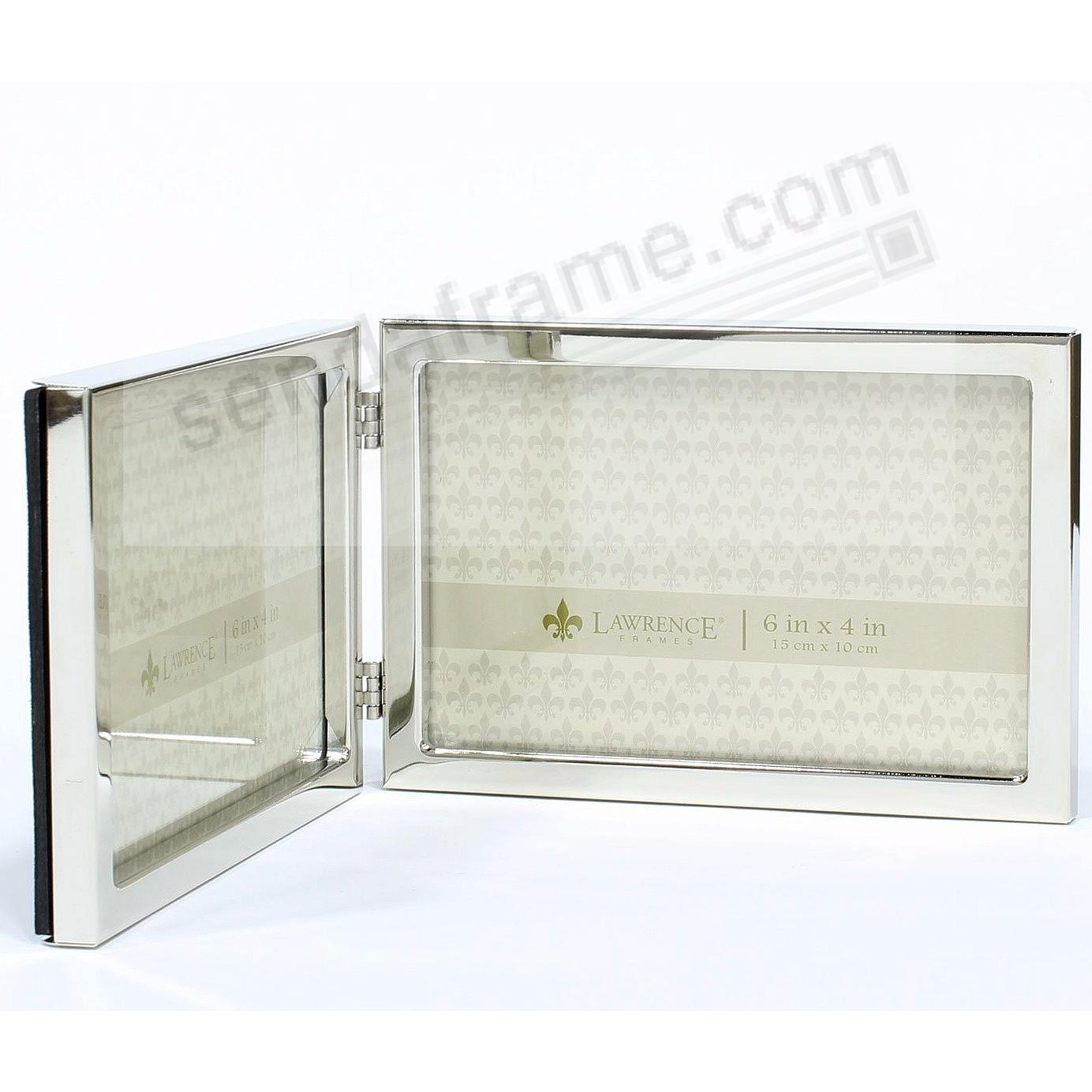 Polished silver landscape 6x4 double hinged frame - Picture Frames ...
